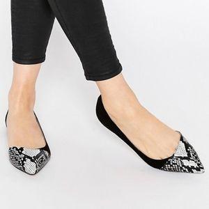ASOS snakeskin pointed toe black ballet flats
